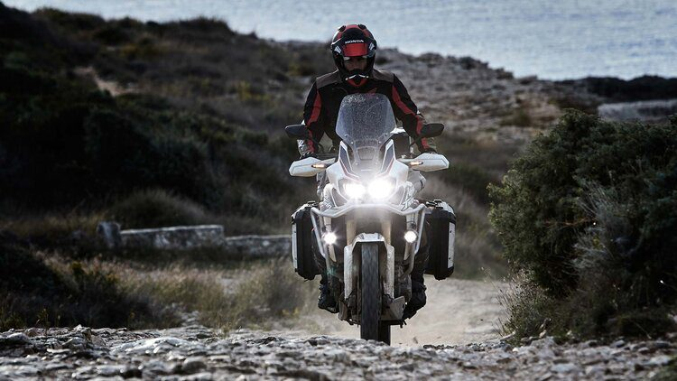 honda africa twin offroad with LED lights