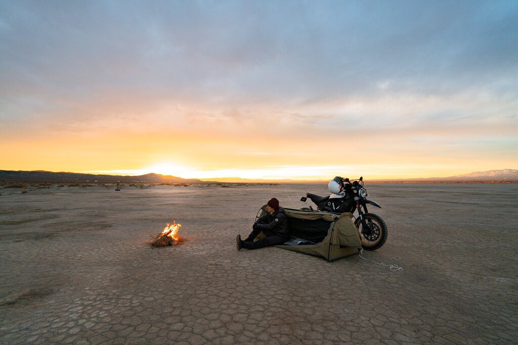 how to motorcycle camp the ultimate minimal setup