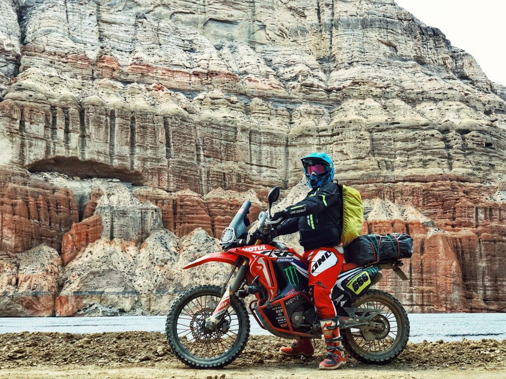 rider with motorcycle backpack