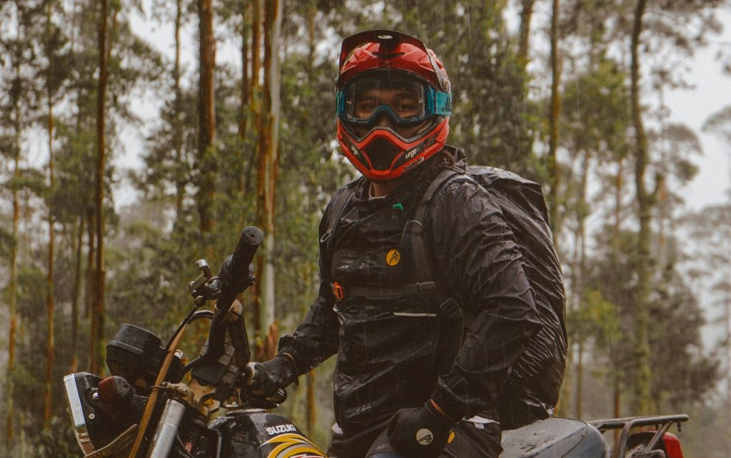 off-road with motorcycle backpack