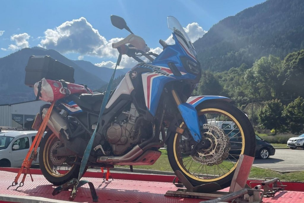 honda africa twin on tow truck - touring troubles