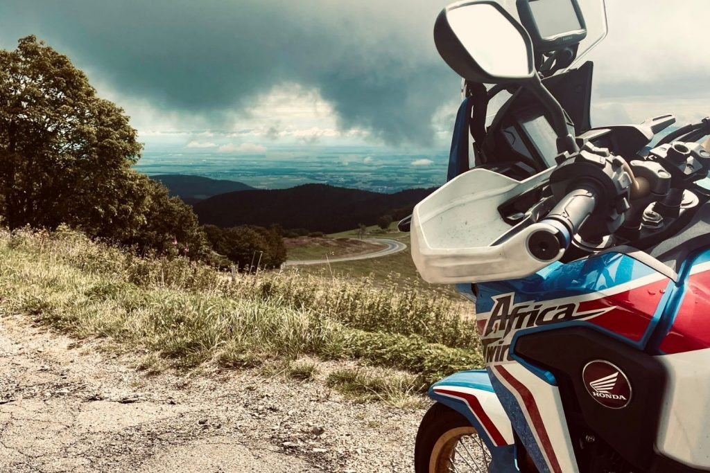 honda africa twin in french in vosges mountains
